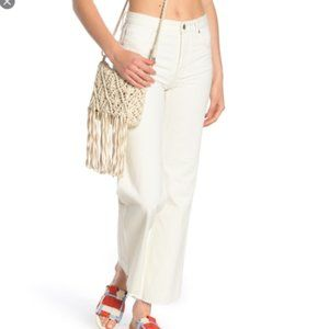 Free People High Waist Flare Jeans White Out